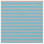 [ Thumbnail: Light Salmon & Deep Sky Blue Pattern Fabric ]