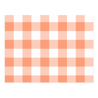 Light Salmon Gingham Pattern Post Cards