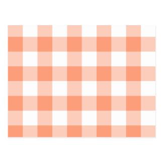 Light Salmon Gingham Pattern Post Cards