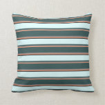 [ Thumbnail: Light Salmon, Gray, Dark Slate Gray, Cyan & Black Throw Pillow ]