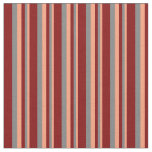 [ Thumbnail: Light Salmon, Grey, and Maroon Striped Pattern Fabric ]