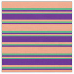 [ Thumbnail: Light Salmon, Indigo & Sea Green Stripes Fabric ]