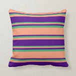 [ Thumbnail: Light Salmon, Indigo & Sea Green Stripes Pillow ]