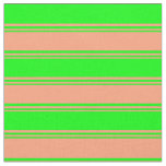 [ Thumbnail: Light Salmon & Lime Colored Lined Pattern Fabric ]