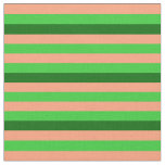 [ Thumbnail: Light Salmon, Lime Green, and Dark Green Stripes Fabric ]