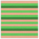 [ Thumbnail: Light Salmon, Lime Green, and Dark Green Stripes Fabric ]