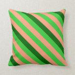 [ Thumbnail: Light Salmon, Lime Green, and Dark Green Stripes Throw Pillow ]