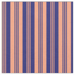 [ Thumbnail: Light Salmon & Midnight Blue Colored Pattern Fabric ]