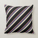 [ Thumbnail: Light Salmon, Midnight Blue, Gray, Beige & Black Throw Pillow ]