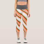 [ Thumbnail: Light Salmon, Mint Cream, Dark Green & Red Lines Leggings ]