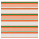 [ Thumbnail: Light Salmon, Mint Cream, Dark Green & Red Lines Fabric ]