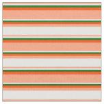 [ Thumbnail: Light Salmon, Mint Cream, Dark Green & Red Lines Fabric ]