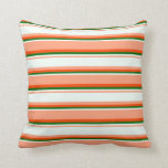 [ Thumbnail: Light Salmon, Mint Cream, Dark Green & Red Lines Throw Pillow ]