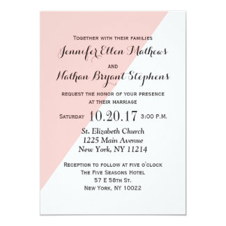Light Salmon Pink and Gray Two Tone 5x7 Paper Invitation Card