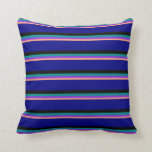 [ Thumbnail: Light Salmon, Purple, Dark Cyan, Black, and Blue Throw Pillow ]