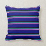 [ Thumbnail: Light Salmon, Purple, Dark Cyan, Black, and Blue Throw Pillow ]