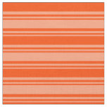 [ Thumbnail: Light Salmon & Red Colored Striped/Lined Pattern Fabric ]