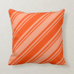 [ Thumbnail: Light Salmon & Red Colored Striped/Lined Pattern Throw Pillow ]