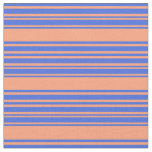 [ Thumbnail: Light Salmon & Royal Blue Lined/Striped Pattern Fabric ]