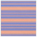 [ Thumbnail: Light Salmon & Royal Blue Lined/Striped Pattern Fabric ]
