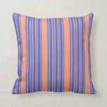 [ Thumbnail: Light Salmon & Royal Blue Lined/Striped Pattern Throw Pillow ]