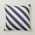 [ Thumbnail: Light Salmon, Sea Green, Beige, Blue & Black Throw Pillow ]
