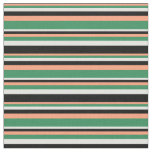[ Thumbnail: Light Salmon, Sea Green, Light Cyan & Black Lines Fabric ]