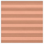 [ Thumbnail: Light Salmon & Sienna Colored Lines Fabric ]