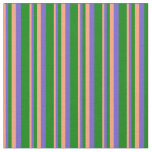 [ Thumbnail: Light Salmon, Slate Blue & Green Lines Fabric ]