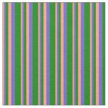[ Thumbnail: Light Salmon, Slate Blue & Green Lines Fabric ]