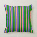 [ Thumbnail: Light Salmon, Slate Blue & Green Lines Pillow ]
