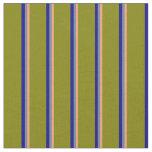 [ Thumbnail: Light Salmon, Slate Gray, Dark Blue & Green Lines Fabric ]
