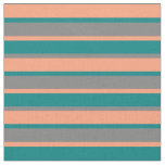 [ Thumbnail: Light Salmon, Teal & Gray Colored Stripes Fabric ]