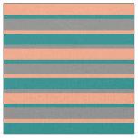 [ Thumbnail: Light Salmon, Teal & Gray Colored Stripes Fabric ]