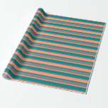 [ Thumbnail: Light Salmon, Teal & Gray Colored Stripes Wrapping Paper ]