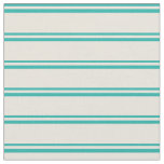 [ Thumbnail: Light Sea Green and Beige Colored Stripes Fabric ]