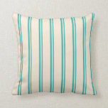 [ Thumbnail: Light Sea Green and Beige Colored Stripes Pillow ]