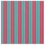 [ Thumbnail: Light Sea Green and Crimson Pattern of Stripes Fabric ]