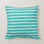 [ Thumbnail: Light Sea Green and Light Cyan Pattern Pillow ]