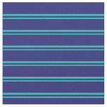 [ Thumbnail: Light Sea Green and Midnight Blue Stripes Fabric ]