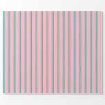 [ Thumbnail: Light Sea Green and Pink Colored Lines Wrapping Paper ]