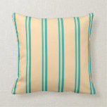 [ Thumbnail: Light Sea Green and Tan Colored Lines Throw Pillow ]