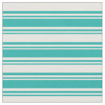 [ Thumbnail: Light Sea Green and White Stripes/Lines Pattern Fabric ]