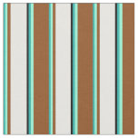 [ Thumbnail: Light Sea Green, Aquamarine, Brown, White & Black Fabric ]