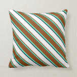 [ Thumbnail: Light Sea Green, Aquamarine, Brown, White & Black Throw Pillow ]