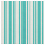 [ Thumbnail: Light Sea Green & Beige Colored Lines Pattern Fabric ]