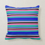 [ Thumbnail: Light Sea Green, Blue, Beige, Black, and Hot Pink Throw Pillow ]