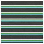 [ Thumbnail: Light Sea Green, Blue, Forest Green, Cyan & Black Fabric ]