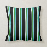 [ Thumbnail: Light Sea Green, Blue, Forest Green, Cyan & Black Throw Pillow ]