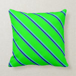 [ Thumbnail: Light Sea Green, Blue, Turquoise & Lime Colored Throw Pillow ]